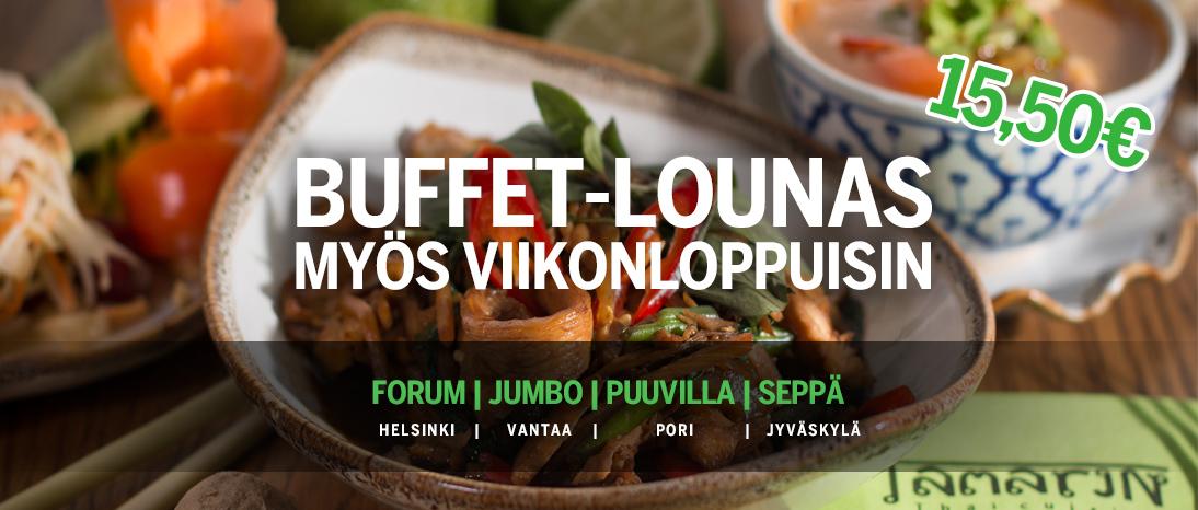 Kuvamainos: Tamarinin buffet-lounas viikonoppuisin, forumissa, jumbossa, puuvillassa ja sepässä.