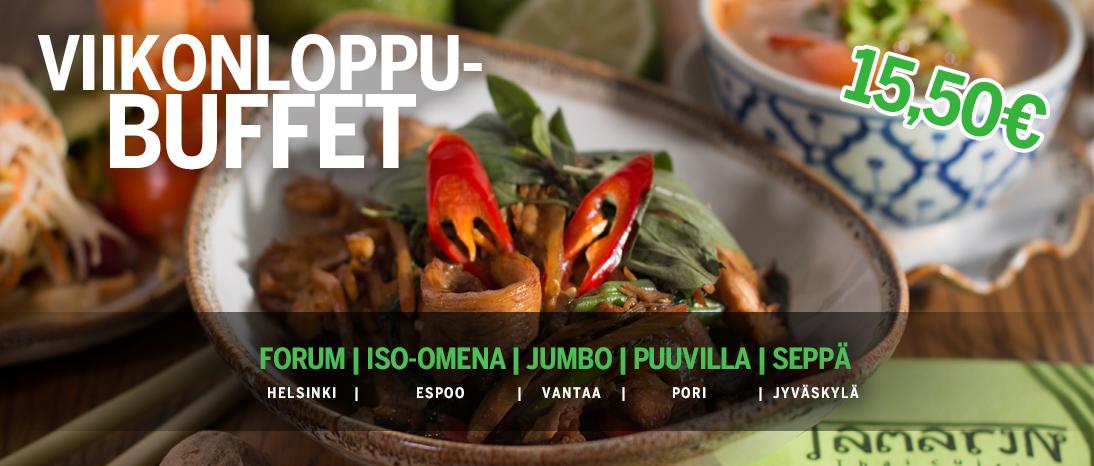 Mainos viikonloppu-buffetista Tamarin-ravintoloissa 15,50€
